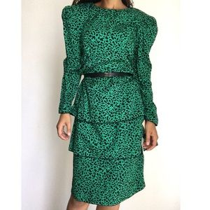 NWT VINTAGE MAGGY LONDON silk ruffled dress 12